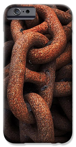 Rust Photographs iPhone Cases - Closeup Of Metallic And Rusty Chains iPhone Case by Mikel Martinez de Osaba