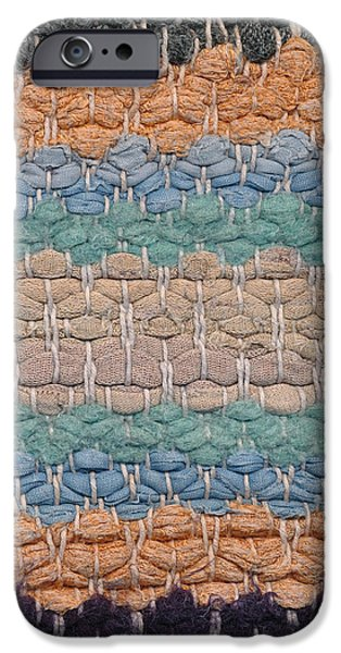Colorful Abstract Tapestries - Textiles iPhone Cases - Closeup of old rag rug iPhone Case by Kerstin Ivarsson
