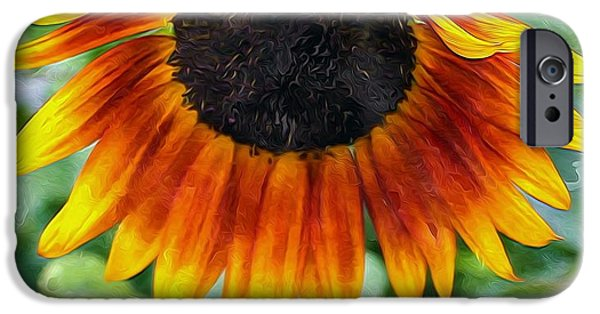 Snake iPhone Cases - Closeup of sunflower in farm iPhone Case by Lanjee Chee