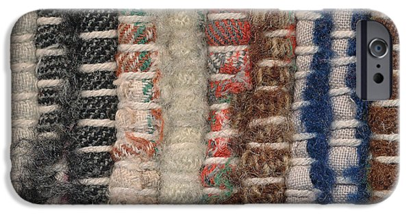 Colorful Abstract Tapestries - Textiles iPhone Cases - Closeup old woven rag rug iPhone Case by Kerstin Ivarsson