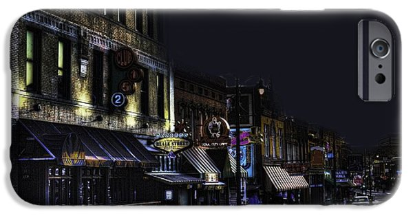Old Cars iPhone Cases - Memphis - Night - Closing Time on Beale Street iPhone Case by Barry Jones