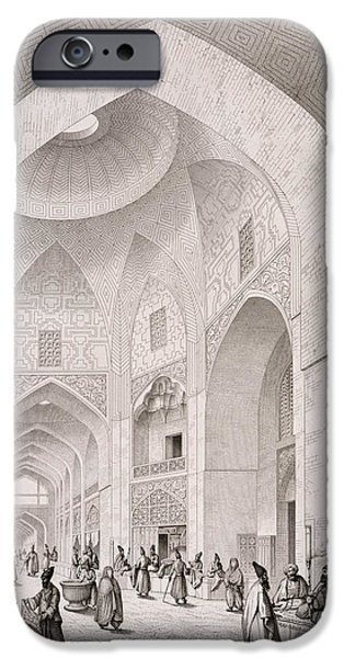 Architects Paintings iPhone Cases - Cloth Market in Isfahan iPhone Case by Pascal Xavier Coste