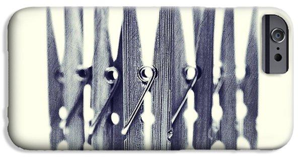 Still iPhone Cases - Clothespin iPhone Case by Priska Wettstein