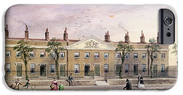 Guild iPhone Cases - Clothworkers Almhouses In Frog Lane Wc On Paper iPhone Case by Thomas Hosmer Shepherd