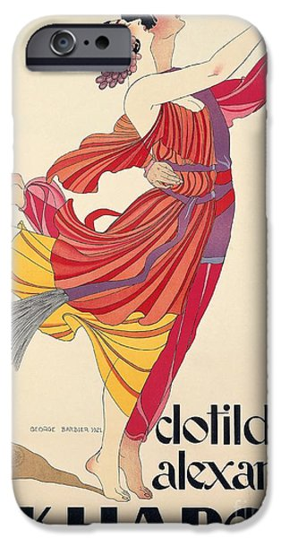 Dance iPhone Cases - Clotilde and Alexandre Sakharoff iPhone Case by George Barbier