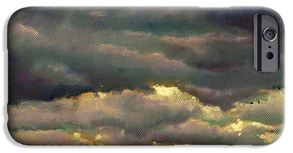 Dark Skies Paintings iPhone Cases - Cloud burst iPhone Case by Helen White