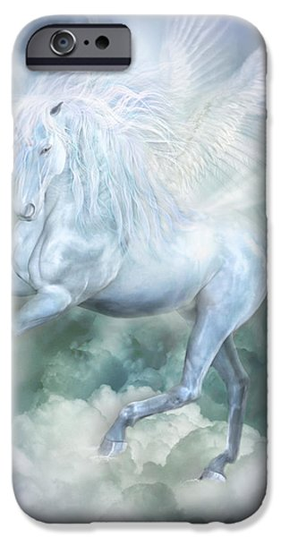 Unicorn Art iPhone Cases - Unicorn Cloud Dancer iPhone Case by Carol Cavalaris