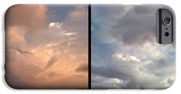 Warm Digital Art iPhone Cases - Cloud Diptych iPhone Case by James W Johnson