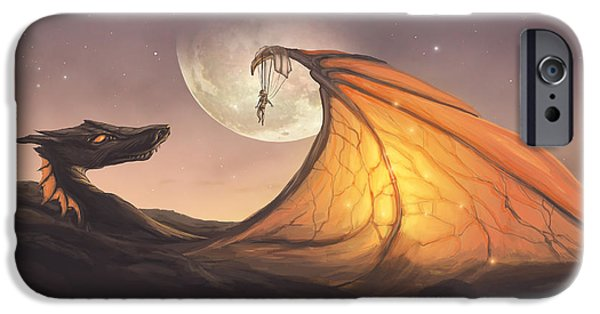 Phantasie iPhone Cases - Cloud Dragon iPhone Case by Cassiopeia Art