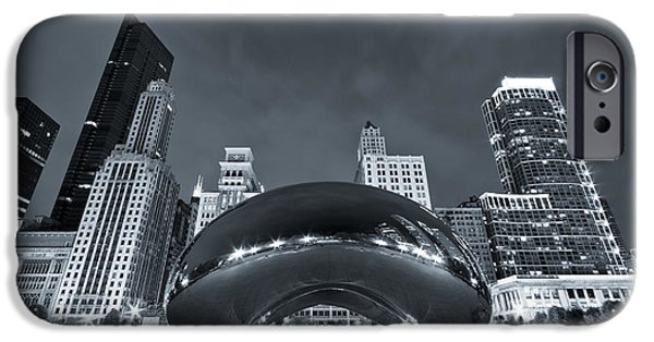 The Bean iPhone Cases - Cloud Gate and Skyline - Blue Toned iPhone Case by Adam Romanowicz