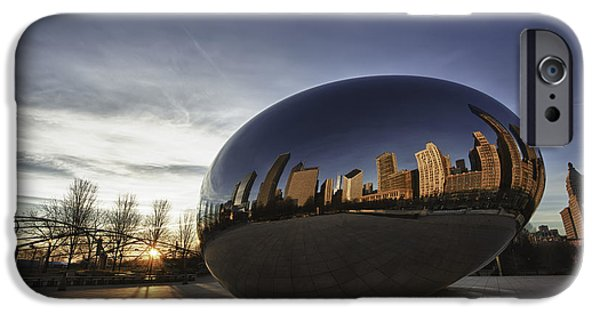 Sculpture iPhone Cases - Cloud Gate at Sunrise iPhone Case by Sebastian Musial