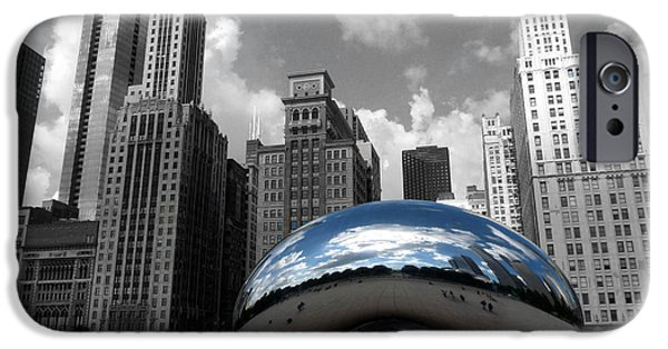 Sears Tower iPhone Cases - Cloud Gate B-W Chicago iPhone Case by David Bearden