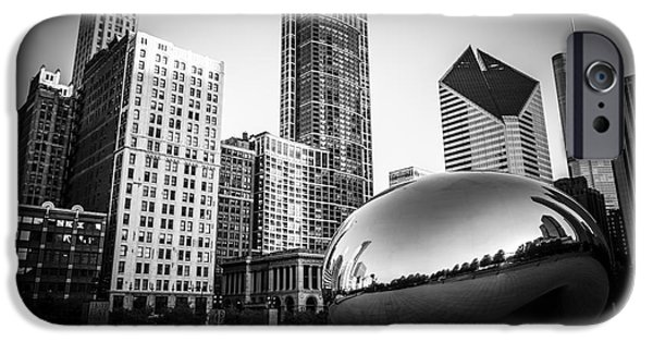 Sculpture iPhone Cases - Cloud Gate Bean Chicago Skyline in Black and White iPhone Case by Paul Velgos
