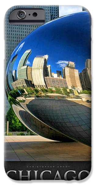 Chicago Paintings iPhone Cases - Cloud Gate Bean Poster iPhone Case by Christopher Arndt