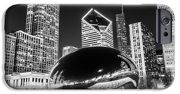 Best Sellers -  - Chicago iPhone Cases - Cloud Gate Chicago Bean Black and White Picture iPhone Case by Paul Velgos