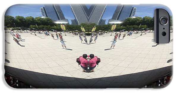 Stainless Steel iPhone Cases - Cloud Gate NE Reflection Mirrored Image 01 iPhone Case by Thomas Woolworth