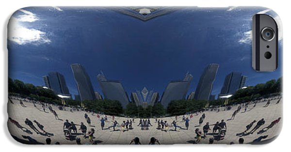 Stainless Steel iPhone Cases - Cloud Gate NE Reflection Mirrored Image 02 iPhone Case by Thomas Woolworth