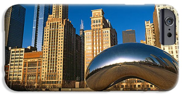 The Bean iPhone Cases - Cloud Gate Sculpture With Buildings iPhone Case by Panoramic Images