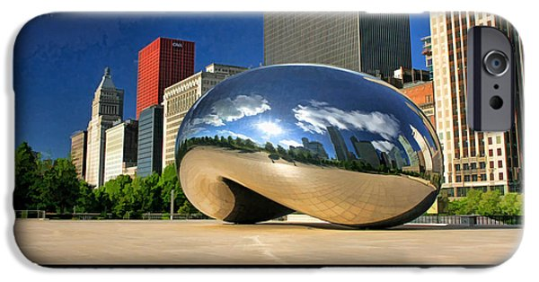 Michigan Paintings iPhone Cases - Cloud Gate Skyscraper Poster iPhone Case by Christopher Arndt