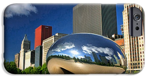 Chicago Paintings iPhone Cases - Cloud Gate Skyscrapers iPhone Case by Christopher Arndt