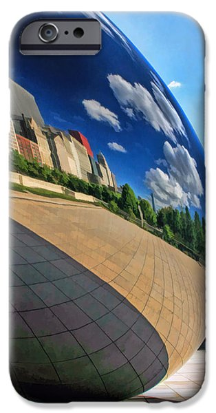 Chicago Paintings iPhone Cases - Cloud Gate Teardrop iPhone Case by Christopher Arndt