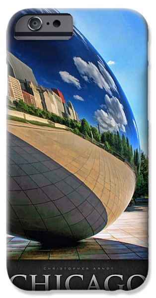 Chicago Paintings iPhone Cases - Cloud Gate Teardrop Poster iPhone Case by Christopher Arndt