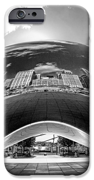 Sears Tower iPhone Cases - Cloud Gate Under the Bean Black and White iPhone Case by Christopher Arndt