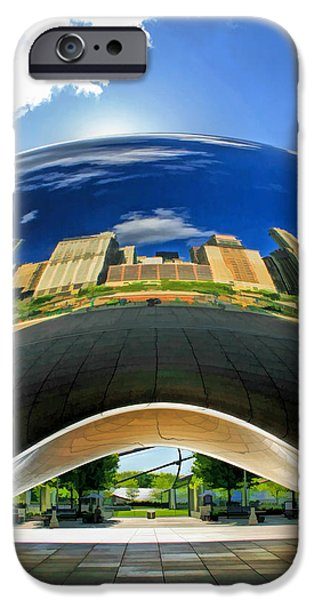 Chicago Paintings iPhone Cases - Cloud Gate Under the Bean iPhone Case by Christopher Arndt