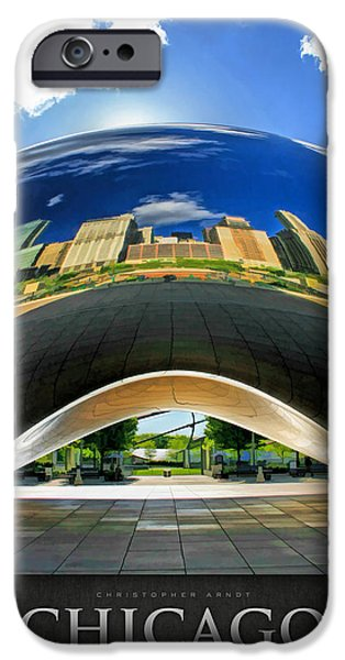 Chicago Paintings iPhone Cases - Cloud Gate Under the Bean Poster iPhone Case by Christopher Arndt