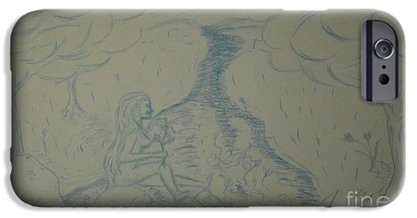 Etc. Drawings iPhone Cases - Cloud Tree Pond iPhone Case by James Eye