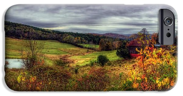 Autumn Scenes iPhone Cases - Cloudland Rd Panoramic - Vermont iPhone Case by Joann Vitali