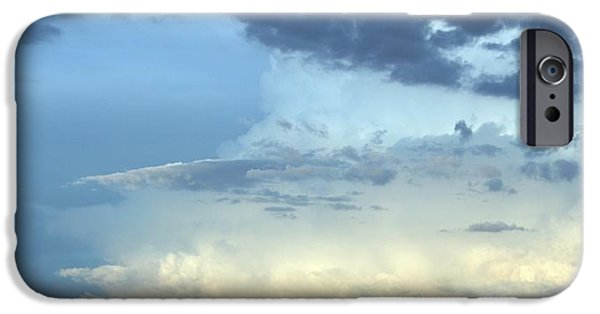 Clouds Glass Art iPhone Cases - Clouds Aglow iPhone Case by Marsha Painter