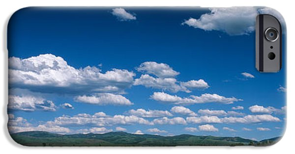 Meadow Photographs iPhone Cases - Clouds And Meadow, Wyoming, Usa iPhone Case by Panoramic Images