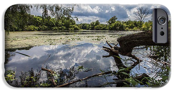 Nature Center Pond iPhone Cases - Clouds on the Water iPhone Case by CJ Schmit