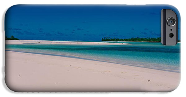 Seascape Photography iPhone Cases - Clouds Over A Beach, Aitutaki, Cook iPhone Case by Panoramic Images