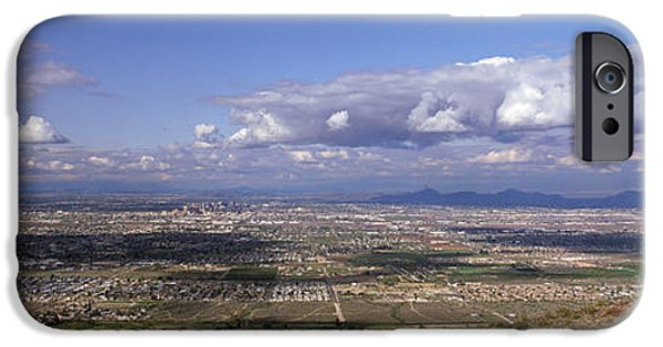 Horizon Over Land iPhone Cases - Clouds Over A Landscape, South Mountain iPhone Case by Panoramic Images