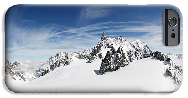 Mountain iPhone Cases - Clouds Over A Snow Covered Mountain iPhone Case by Panoramic Images