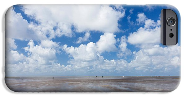 North Sea iPhone Cases - Clouds Over Beach, Wadden Sea National iPhone Case by Panoramic Images