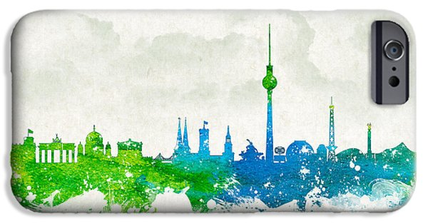 Skyscraper Mixed Media iPhone Cases - Clouds Over Berlin Germany iPhone Case by Aged Pixel