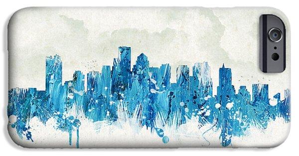 Boston Cityscape iPhone Cases - Clouds Over Boston Massachusetts Usa iPhone Case by Aged Pixel