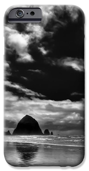 Monotone iPhone Cases - Clouds over Haystack Rock on Cannon Beach iPhone Case by David Patterson