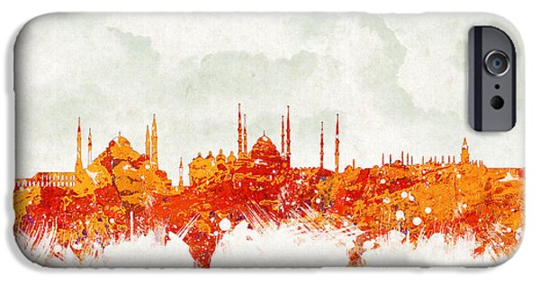 Skyscraper Mixed Media iPhone Cases - Clouds Over Istanbul Turkey iPhone Case by Aged Pixel