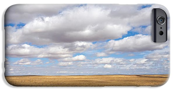Horizon Over Land iPhone Cases - Clouds Over Open Rangeland, Texas, Usa iPhone Case by Panoramic Images