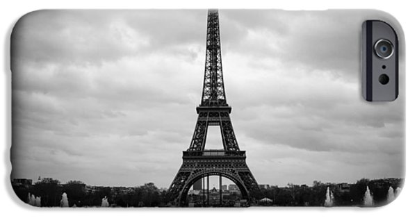 Dark Skies iPhone Cases - Clouds over Paris iPhone Case by Mountain Dreams