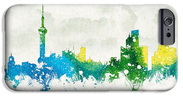 Buildings Mixed Media iPhone Cases - Clouds Over Shanghai China iPhone Case by Aged Pixel
