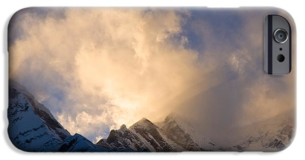 Mountain iPhone Cases - Clouds Over Snowcapped Mountain iPhone Case by Panoramic Images