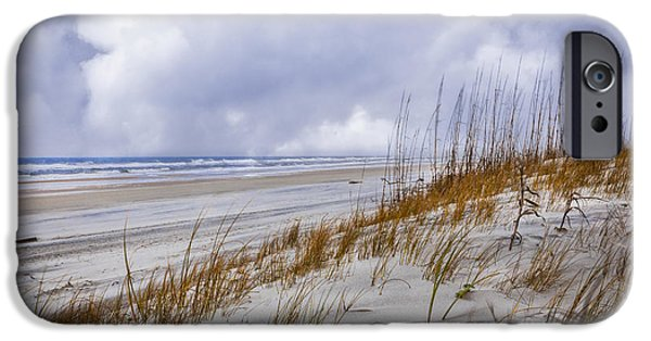 Sanddunes iPhone Cases - Clouds Over the Dunes iPhone Case by Debra and Dave Vanderlaan