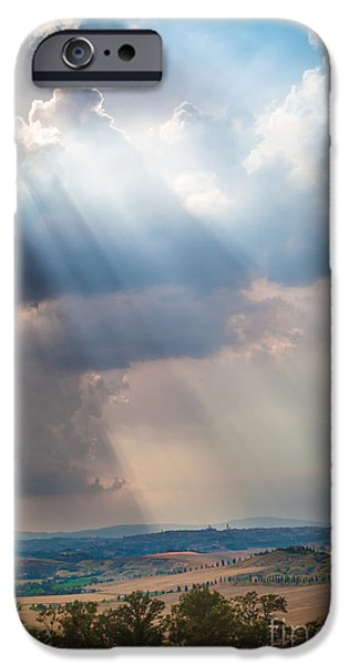 Agricultural iPhone Cases - Clouds over Tuscany iPhone Case by Inge Johnsson