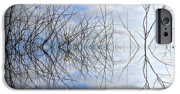 Shape iPhone Cases - Clouds Sky and Sticks 2 iPhone Case by Joe Wyman
