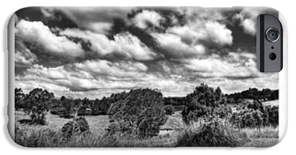 Old Fence Posts iPhone Cases - Cloudy Countryside Collage - Black and White iPhone Case by Kaye Menner